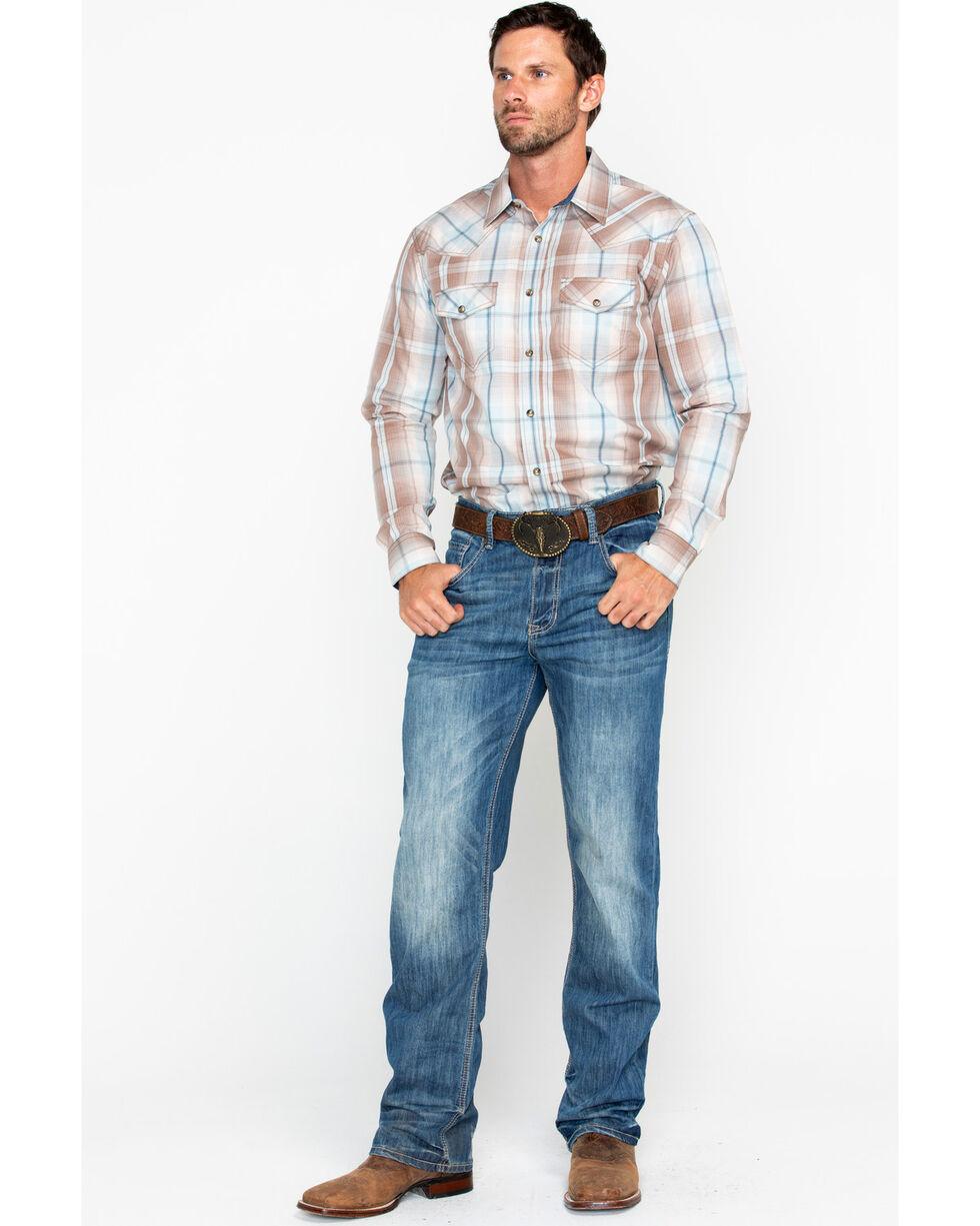 Cody James Men's Sand Point Plaid Long Sleeve Western Shirt, Brown, hi-res
