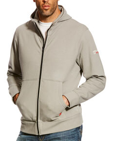 Ariat Men's Silver Fox FR Full Zip Hooded Work Sweatshirt , Silver, hi-res