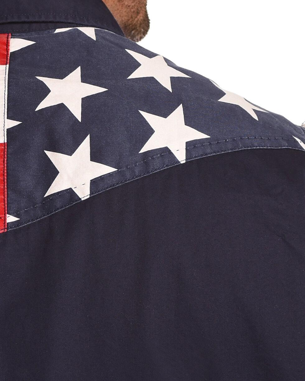 Cody James Men's American Flag Sleeveless Western Shirt, Red/white/blue, hi-res