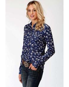 Studio West Women's Steel Magnolias Print Snap Long Sleeve Shirt, Blue, hi-res
