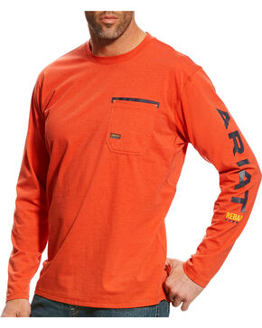 Ariat Men's Rebar Long Sleeve Logo Crew, Red, hi-res