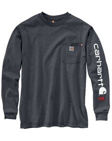 Carhartt Men's Granite M-FR Midweight Signature Logo Long Sleeve Work Shirt - Tall, Grey, hi-res