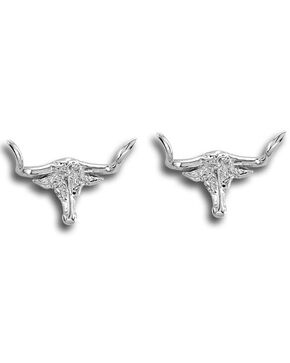 Kelly Herd Women's Silver Longhorn Post Earrings , Silver, hi-res