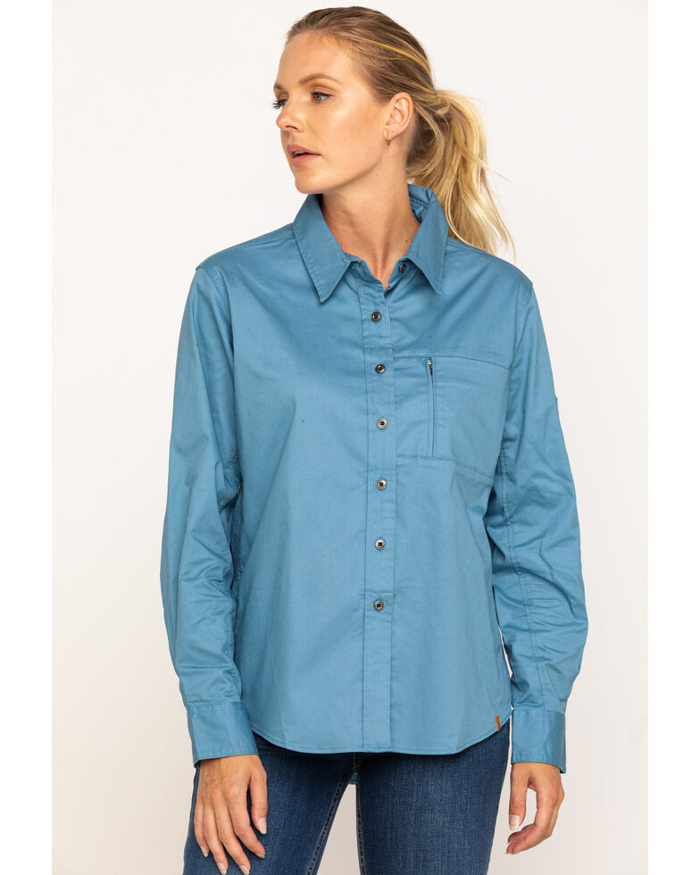 Wrangler Riggs Women's Blue Spruc Long Sleeve Work Shirt, Blue, hi-res