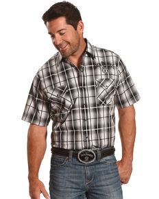 Jack Daniel's Men's Black Plaid Traditional Logo Short Sleeve Western Shirt , Black, hi-res