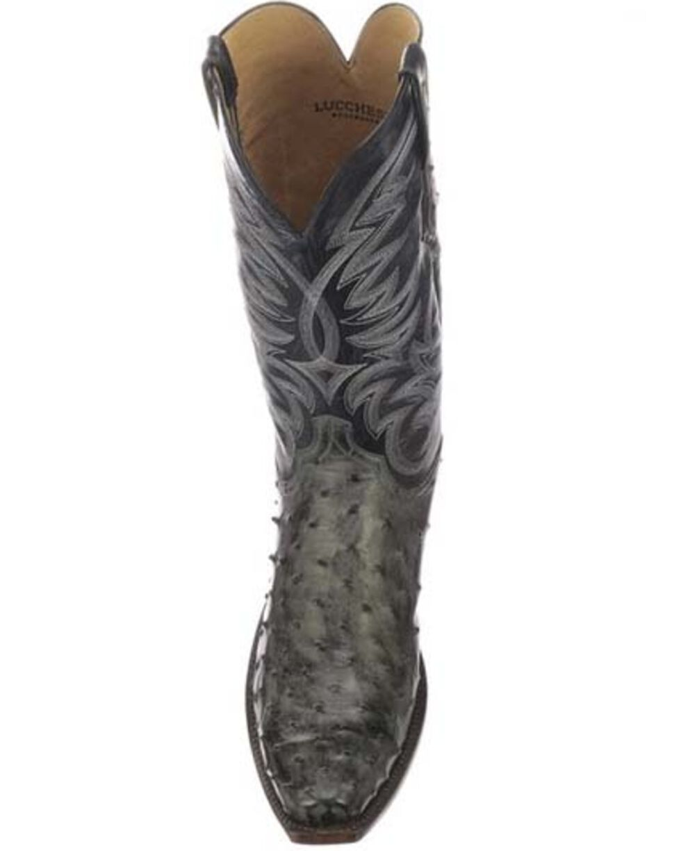 Lucchese Men's Hugo Full-Quill Ostrich Western Boots - Square Toe, Dark Grey, hi-res