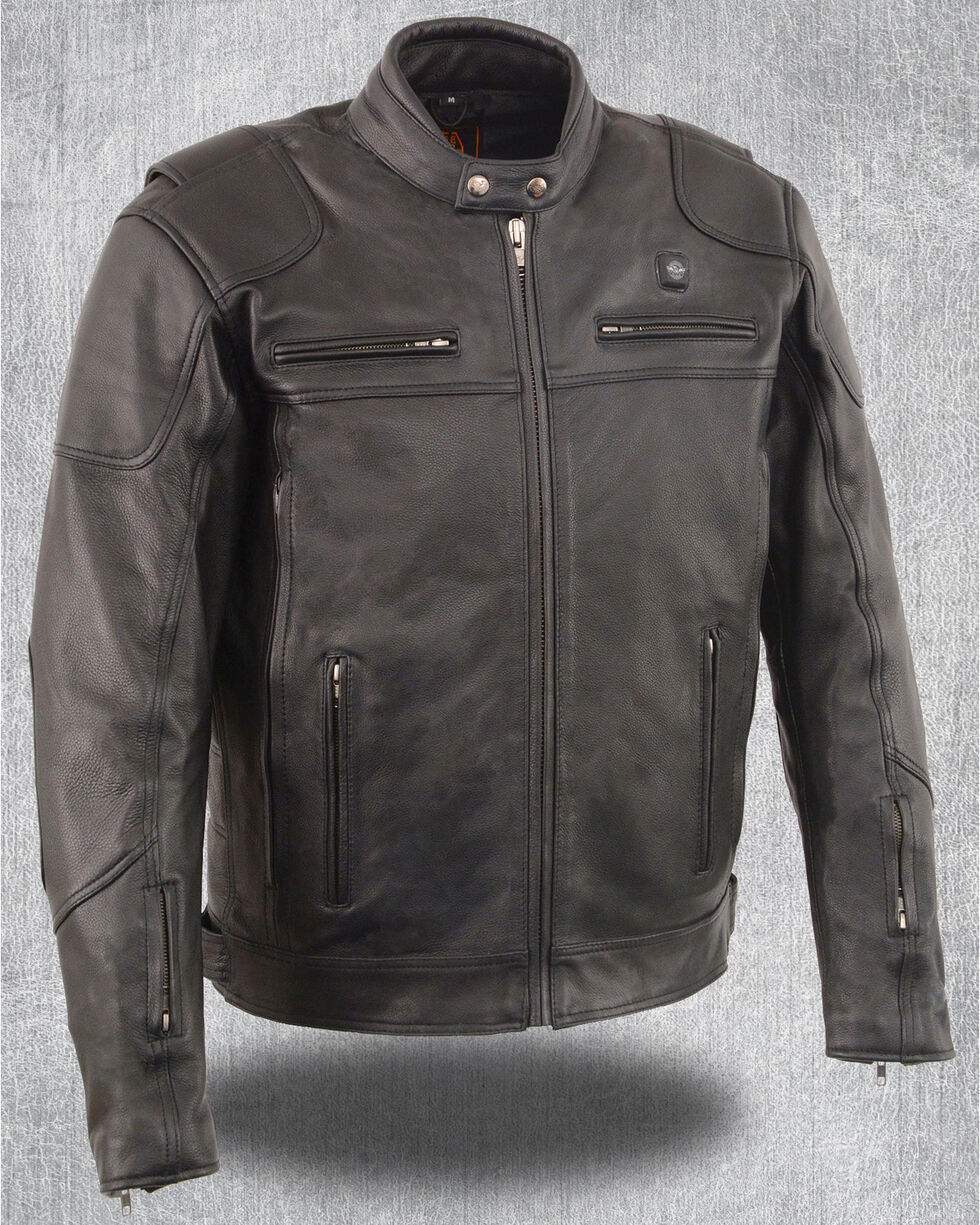Milwaukee Leather Men's Heated Scooter Jacket, Black, hi-res