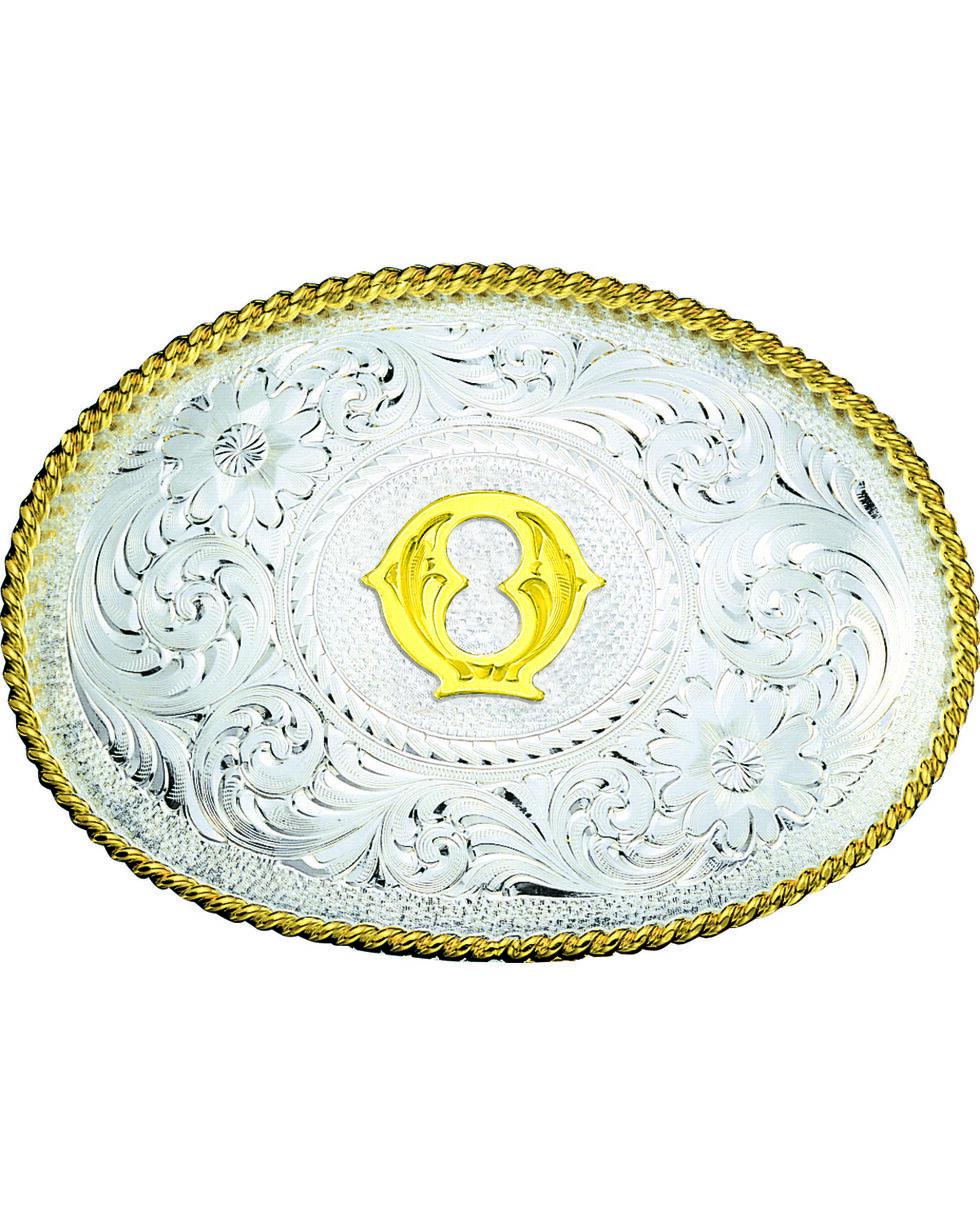 Montana Silversmiths Engraved Initial Q Western Belt Buckle, Multi, hi-res