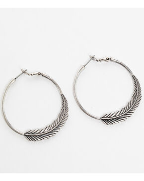 Shyanne Women's Feather Hoop Earrings, Silver, hi-res
