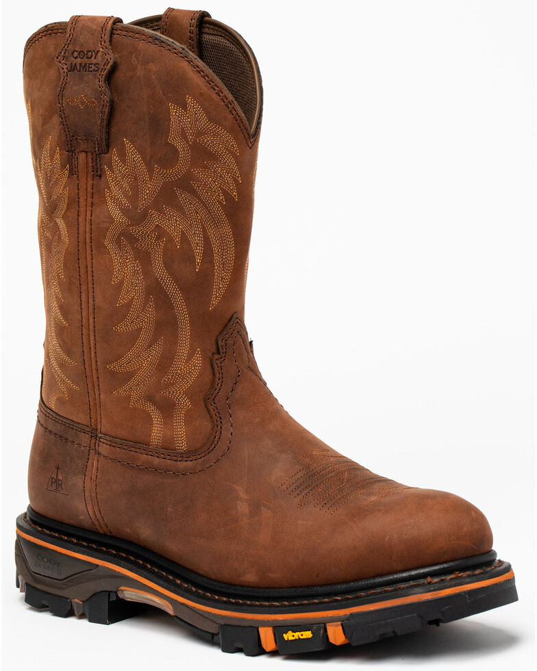 Cody James Men's Decimator Western Work Boots - Soft Toe, Brown, hi-res