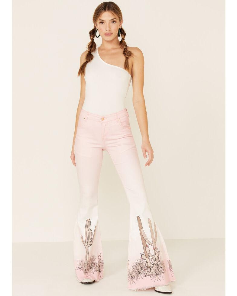 Ranch Dress'n Women's Pink Cactus Flare Leg Jeans, Pink, hi-res