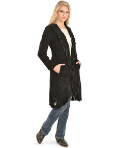 Scully Women's Suede Fringe Maxi Coat, Black, hi-res