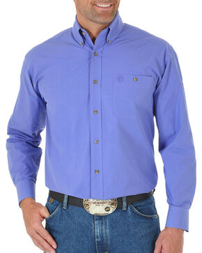 Wrangler Men's Solid Button Down Long Sleeve Shirt, Purple, hi-res