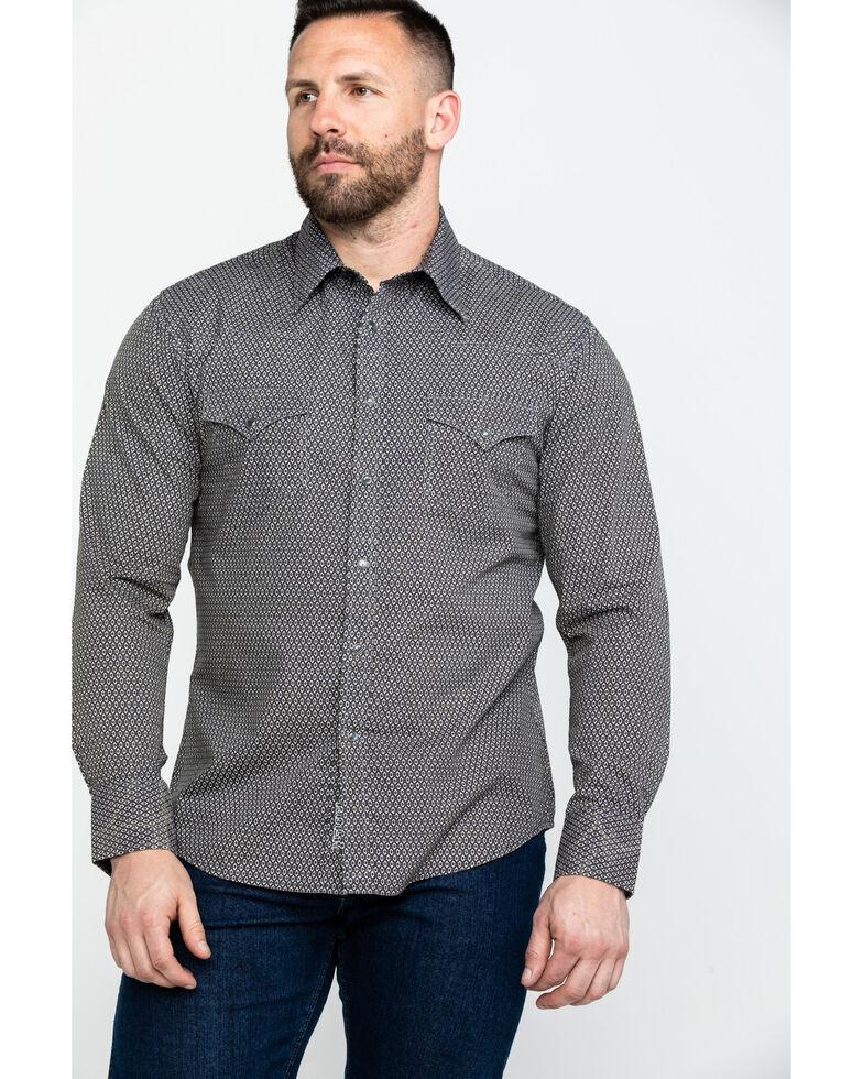 Rock & Roll Cowboy Men's Brown Washed Poplin Print Long Sleeve Western Shirt , Brown, hi-res