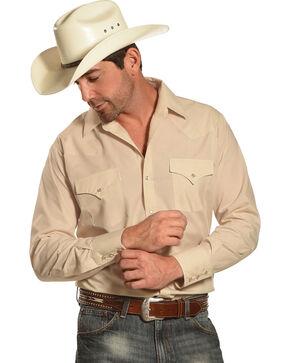 Ely Cattleman Men's Long Sleeve Solid Western Shirt - Big & Tall, Khaki, hi-res