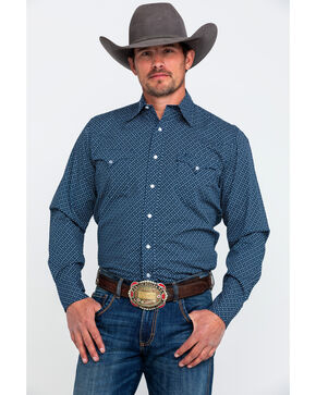 Roper Men's Small Geo Print Long Sleeve Western Shirt , Blue, hi-res