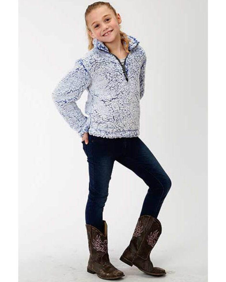 Roper Girls' Fuzzy Fleece Sweatshirt , Blue, hi-res