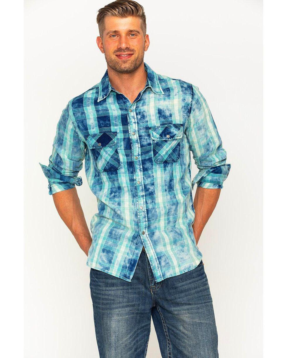 Ryan Michael Men's Indigo Faded Bleach Gingham Shirt , Indigo, hi-res