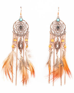 Shyanne Women's Wanderlust Beaded Feather Dream Catcher Earrings, Tan/copper, hi-res