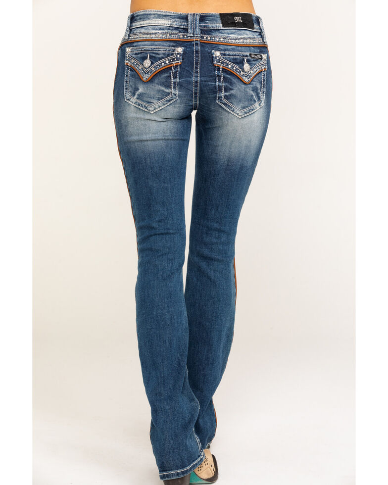 Miss Me Women's Leather Piping Medium Wash Chloe Bootcut Jeans, Blue, hi-res
