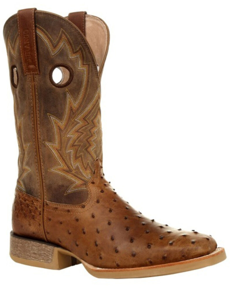 Durango Men's Rebel Full-Quill Ostrich Western Boots - Square Toe, Brown, hi-res