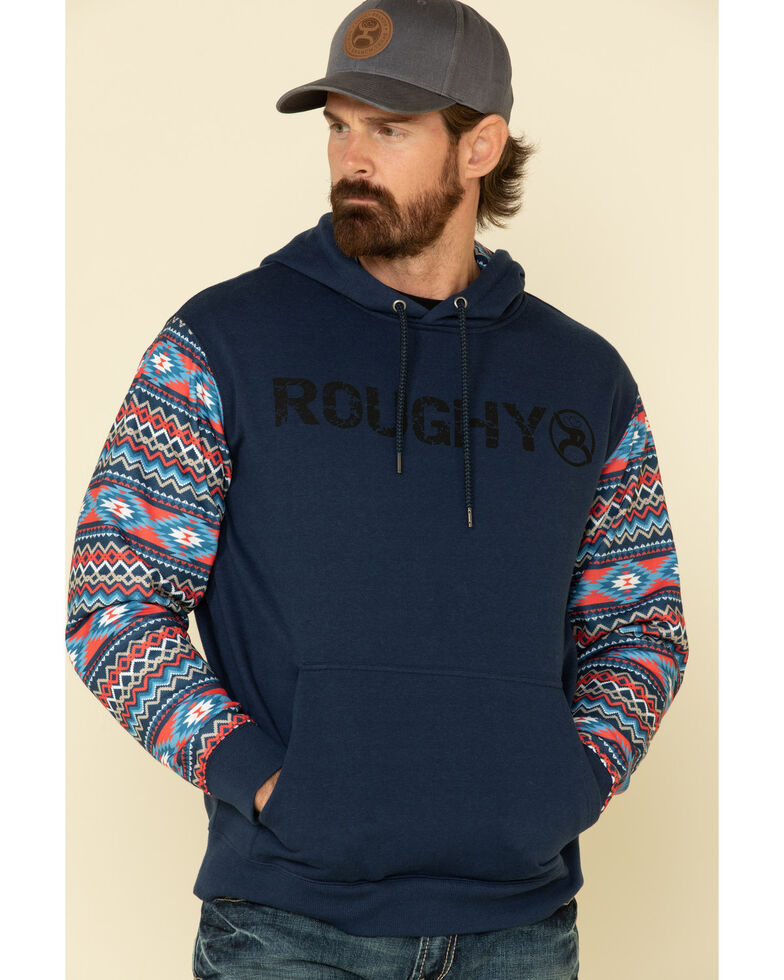 HOOey Men's Navy Aztec Roughy Lock-Up Hooded Sweatshirt , Navy, hi-res