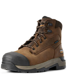 Ariat Men's Mastergrip Defend Waterproof Work Boots - Composite Toe, Brown, hi-res