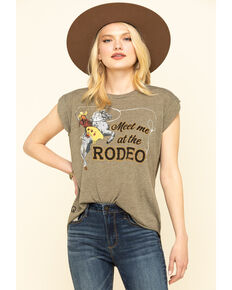 Rodeo Qunicy Women's Meet Me At The Rodeo Rolled Cuff Muscle Tee, Olive, hi-res