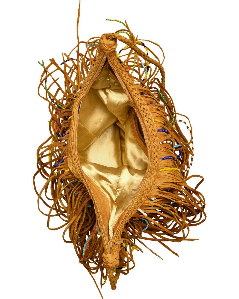 Kobler Leather Tan Bead and Fringe Gypsy Bag , Tan, hi-res