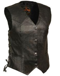 Milwaukee Leather Women's Classic Side Lace Four Snap Vest, Black, hi-res