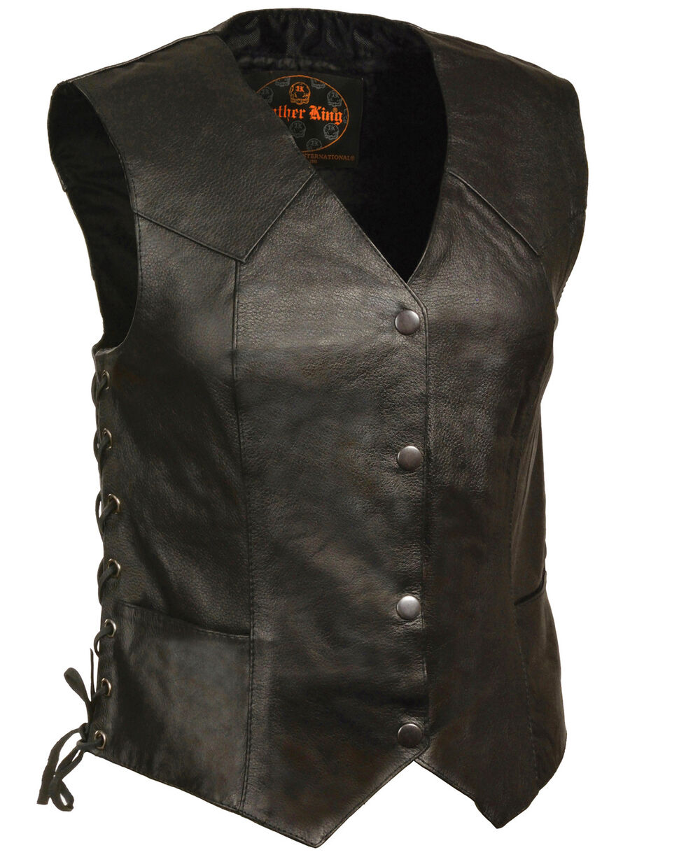 Milwaukee Leather Women's Classic Side Lace Four Snap Vest - 5XL, Black, hi-res
