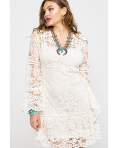 Honey Creek By Scully Women's Lace Crochet Long Sleeve Dress , Ivory, hi-res