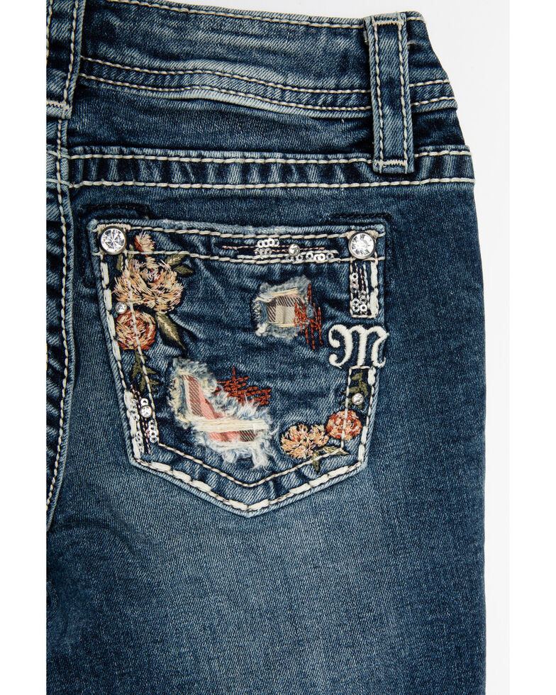 Miss Me Girls' Floral & Plaid Embroidered Skinny Jeans, Blue, hi-res