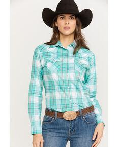 d849f86b Wrangler Women's Turquoise & White Plaid Long Sleeve Western Shirt
