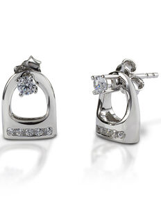 Kelly Herd Women's Studded Small English Stirrup Jacket Earrings , Silver, hi-res