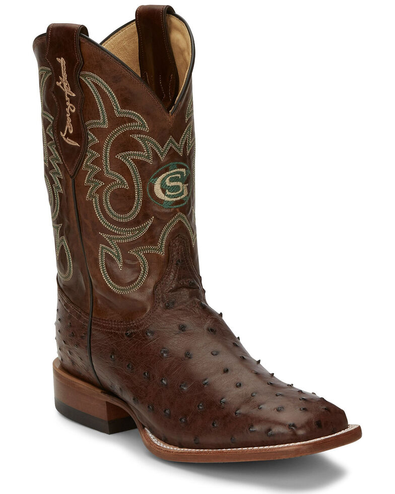 Justin Men's Poteet Tobacco Western Boots - Wide Square Toe, Brown, hi-res