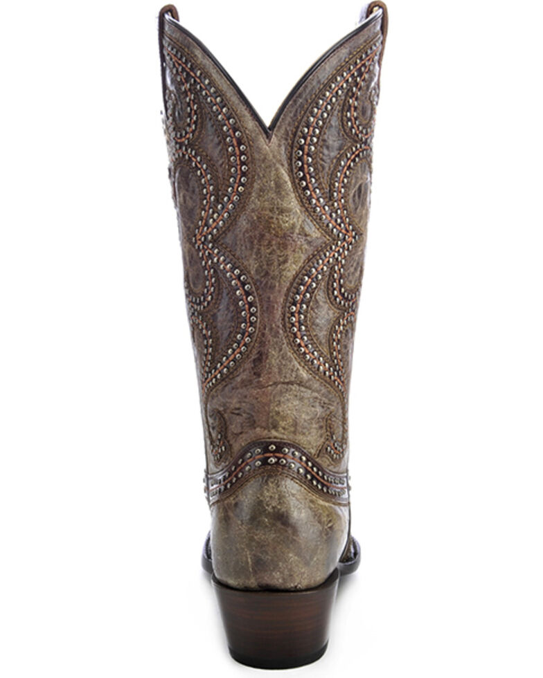 Corral Women's Distressed Studded Overlay Western Boots, Brown, hi-res