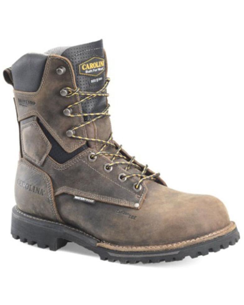 "Carolina Men's Pitstop 8"" Waterproof Work Boots - Soft Toe, Brown, hi-res"