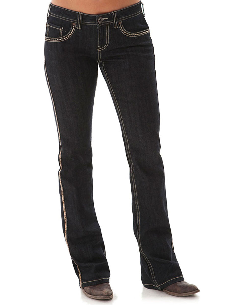 Cowgirl Tuff Women's Golden Boot Cut Jeans, Dark Blue, hi-res