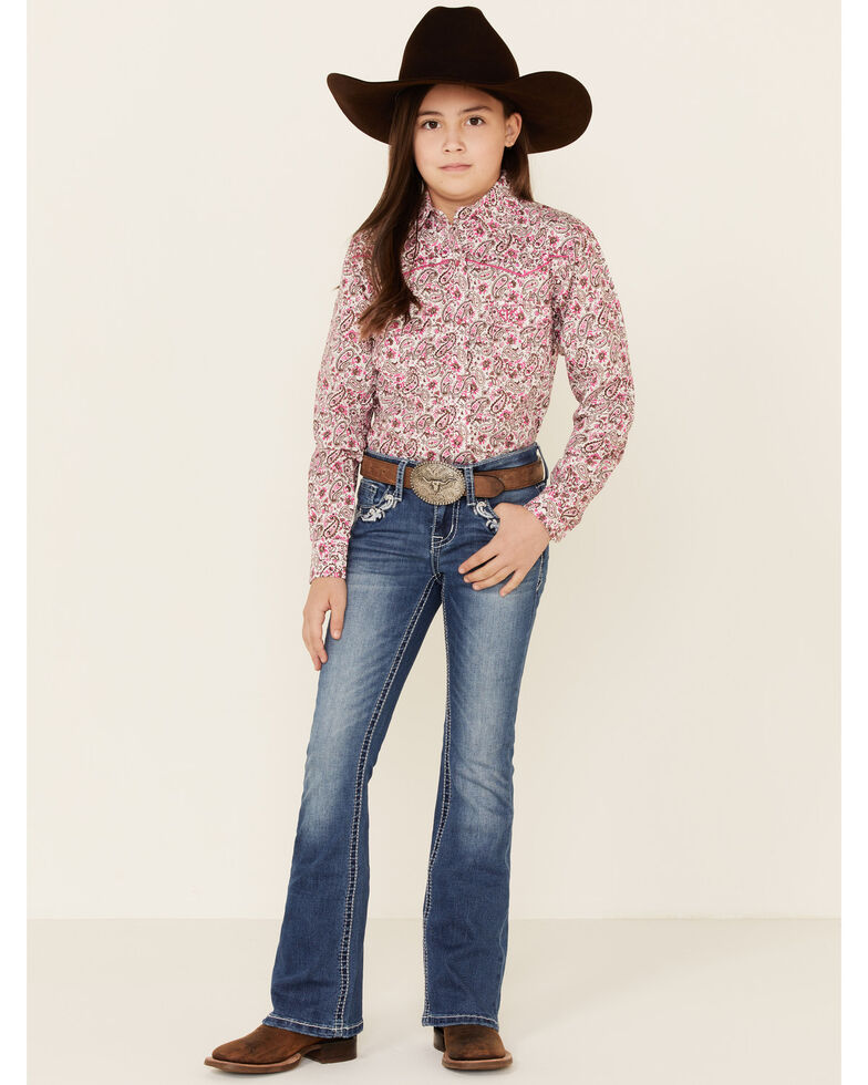 Grace in LA Girls' Floral Swirl Bootcut Jeans, Blue, hi-res