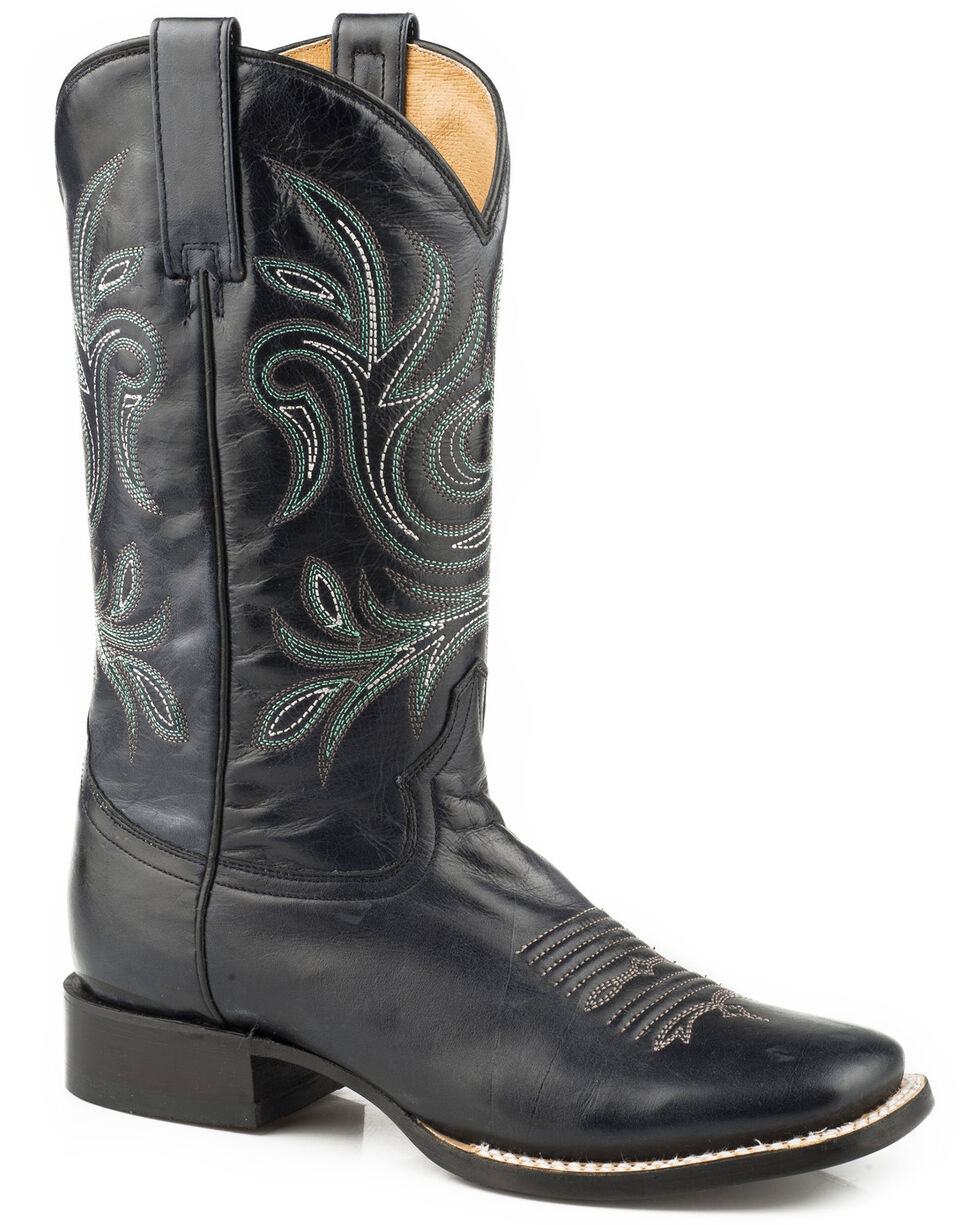 Roper Women's Black Classy Western Boots - Square Toe , Black, hi-res