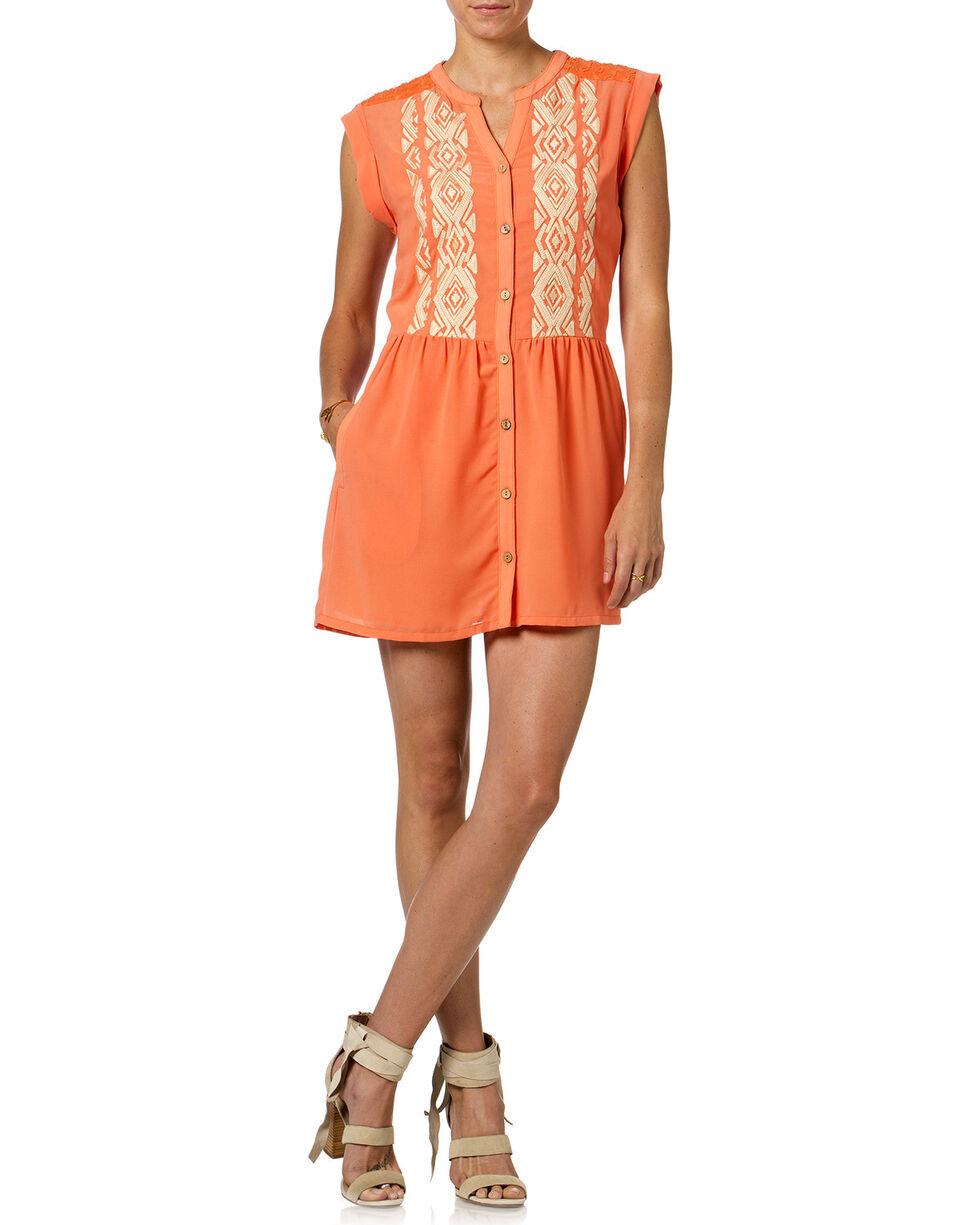 Miss Me Orange Button Down Sleeveless Dress , Orange, hi-res