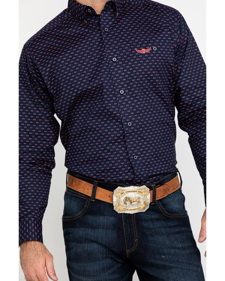 Ariat Men's Relentless Muscular Stretch Geo Print Long Sleeve Western Shirt , Navy, hi-res