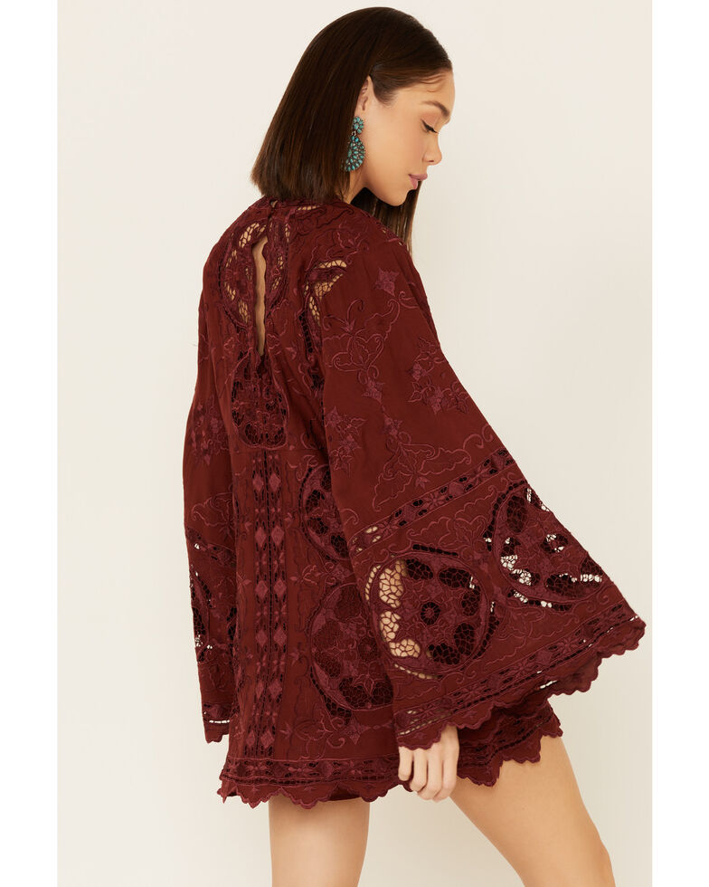 Free People Women's Northern Lights Mini Dress, Burgundy, hi-res