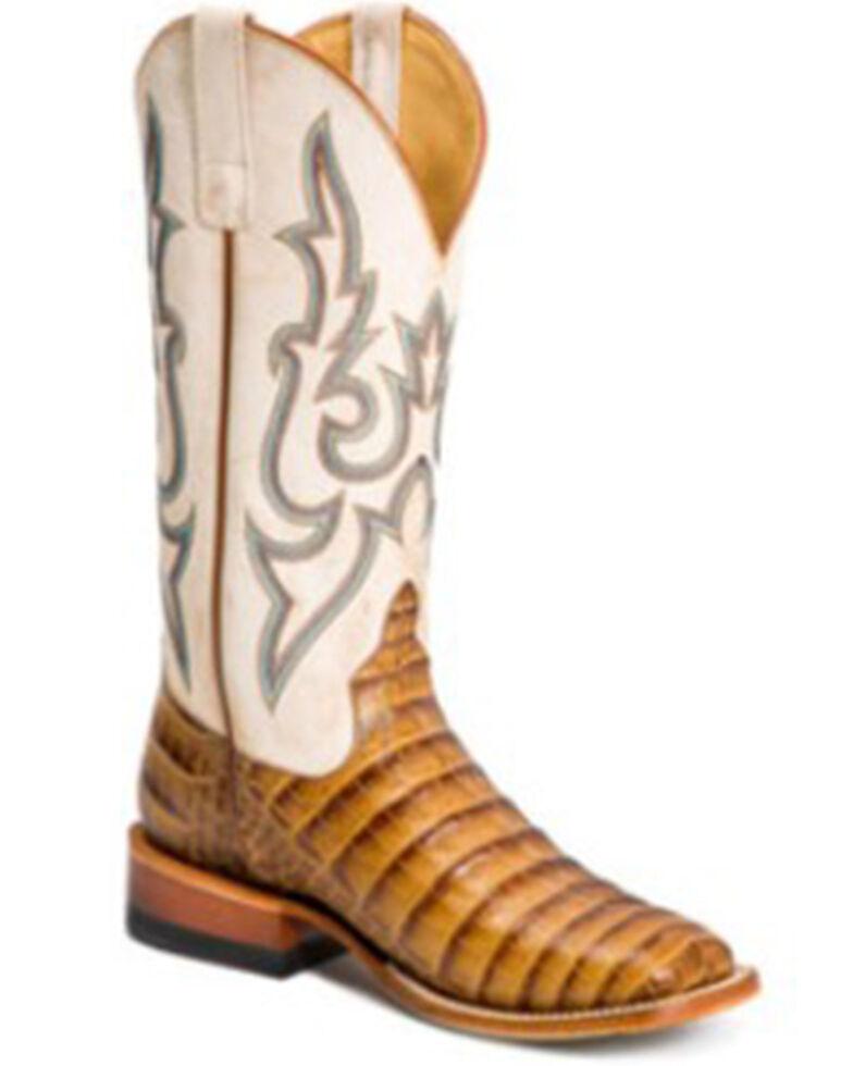 Macie Bean Women's Slick Rikki Western Boots - Wide Square Toe, Cream/brown, hi-res