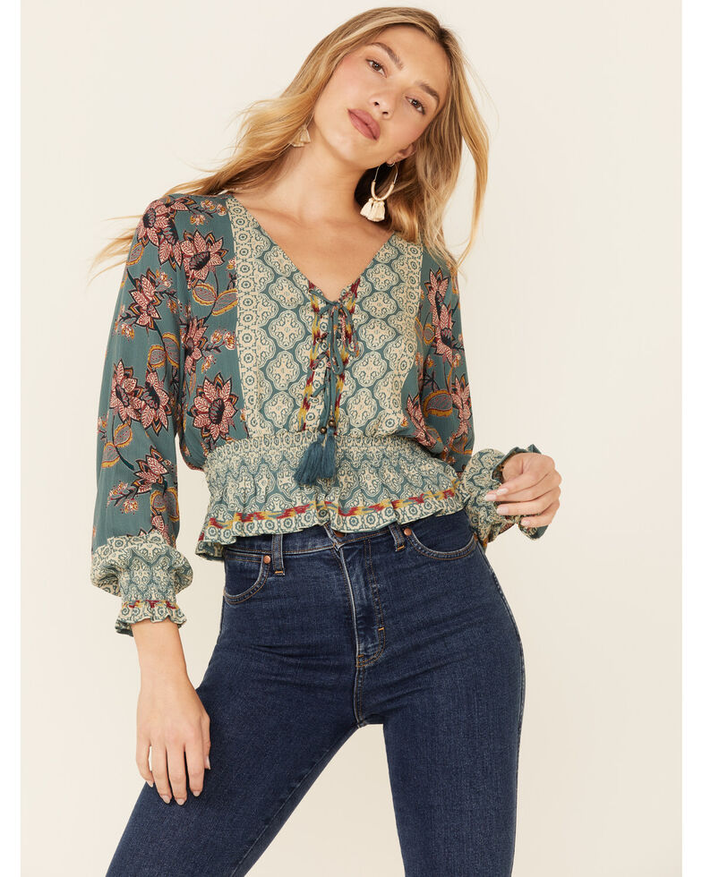 Angie Women's Teal Border Print Lace-Up Long Sleeve Crop Top , Teal, hi-res