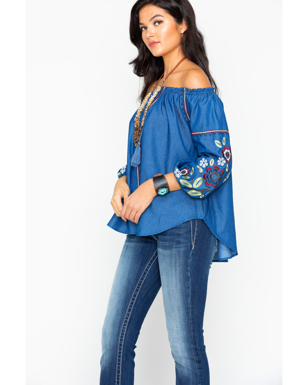 Cowgirl Up Women's Embroidered Sleeve Tie Front Peasant Top, Blue, hi-res