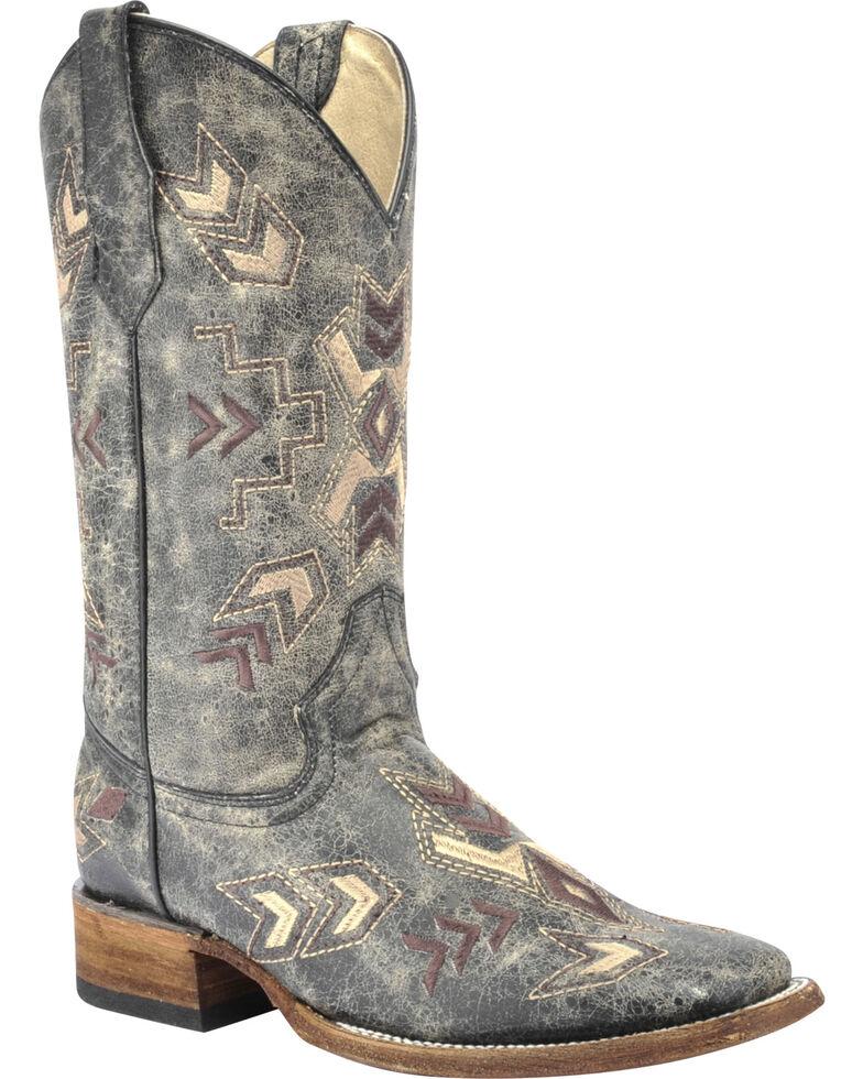 Corral Women's Distressed Arrowhead Western Boots, Black, hi-res