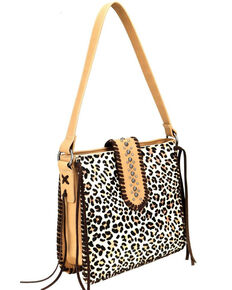 Trinity Ranch Women's Leopard Hair-On Leather Purse, Brown, hi-res