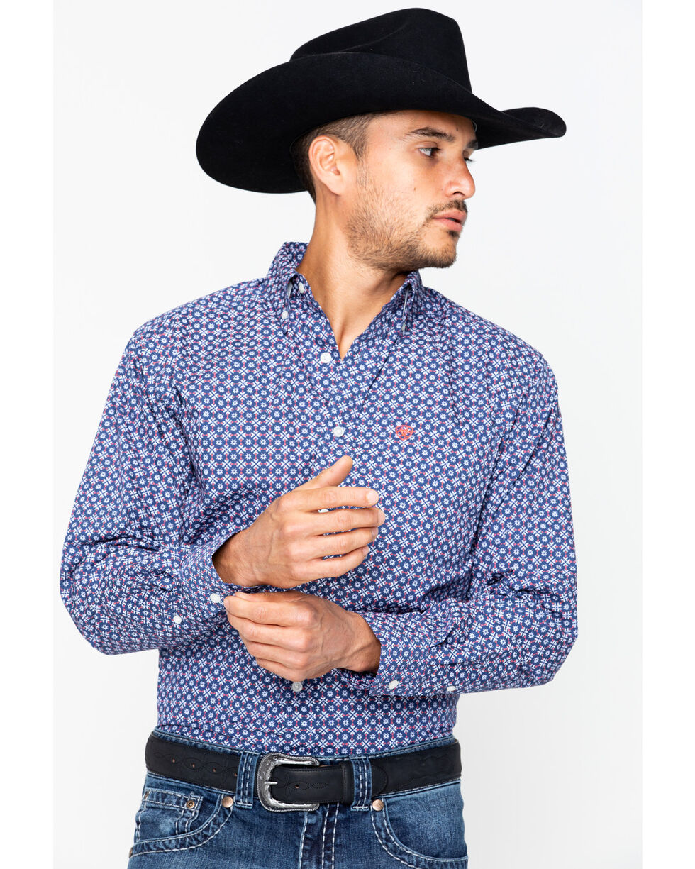 Ariat Men's Talledo Print Western Shirt , Indigo, hi-res